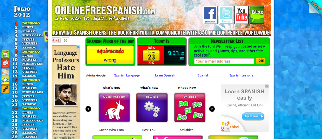 OnlineFreeSpanish.com Study Spanish for free with our OnLine Lessons1 1024x442 Sofrito For Kids: Learn Spanish For Free... No, Really GRATIS!