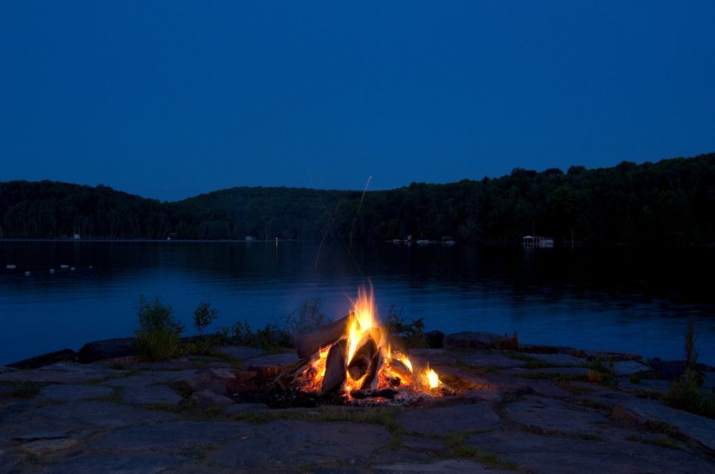 Campfire at lake cottage.