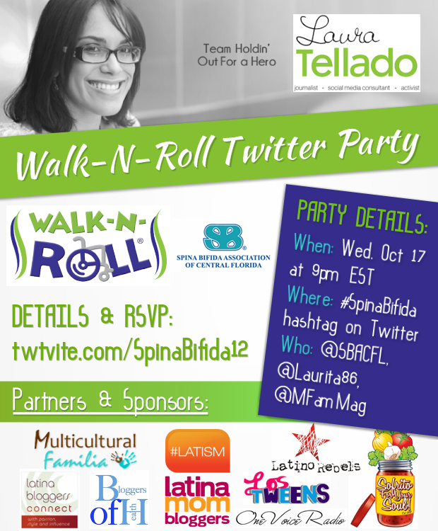 spina bifida, twitter party, walk-n-roll, laurita tellado, laura tellado, latism, latino rebels, multicultural families, latinos with spina bifida, sofrito for your soul